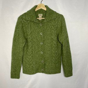 Vtg LL Bean Wool Blend Green Long Sweater Jacket